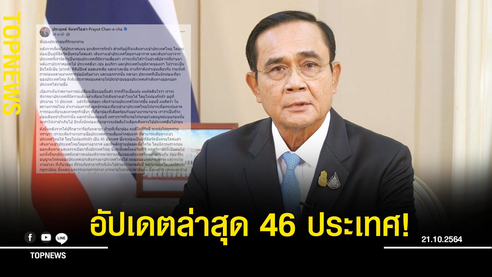 นายกฯ อัปเดตล่าสุด 46 ประเทศ! ตอบรับท่องเที่ยวไทยไม่กักตัว